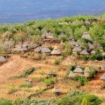 Konso village on the side of a mountain. Southern-central Ethiopia.